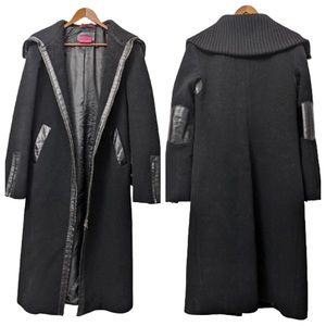 SALE Mackage Cashmere Wool w/ Leather Trim Coat